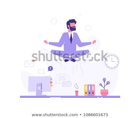 Man zen werk illustratie zakenman mediteren Stockfoto © lenm