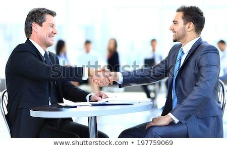 Stock photo: Two executive business working, businessman colleagues during di
