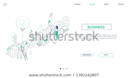 Social media - line design style isometric web banner Stock photo © Decorwithme