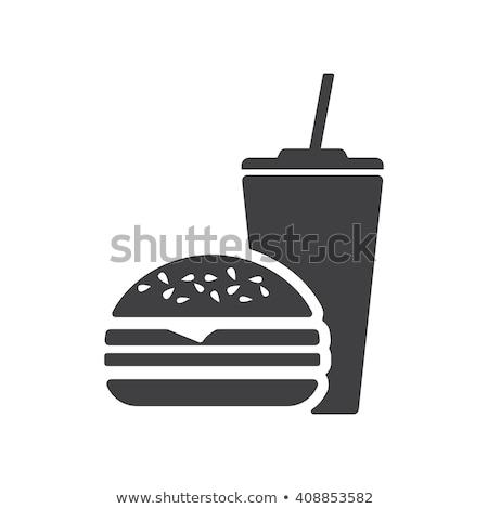 быстрого питания иконки иллюстрация набор признаков черно белые Сток-фото © olegtoka