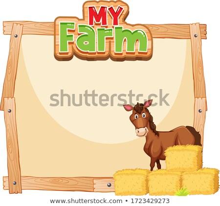 国境 テンプレート デザイン 馬 乾草 実例 ストックフォト © bluering