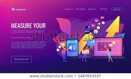 Alto roi contenido aterrizaje página medios de comunicación social Foto stock © RAStudio