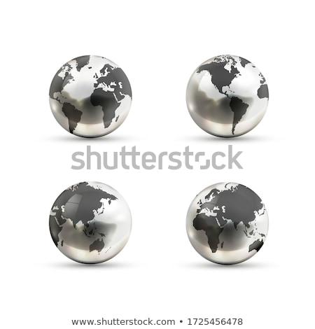 Conjunto realista metálico terra ícones Foto stock © evgeny89
