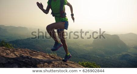 Maratona corredor corrida para cima montanha preto e branco Foto stock © patrimonio