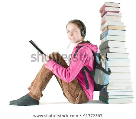 Foto stock: Menina · adolescente · eletrônico · livro · impresso · livros