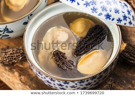 Kip champignon soep witte kom klaar Stockfoto © kenishirotie