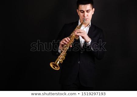 Szaxofon szél hangszer fehér fém művészet Stock fotó © lalito