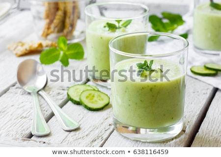 cetriolo · zuppa · freddo · fette · menta · verde - foto d'archivio © joker