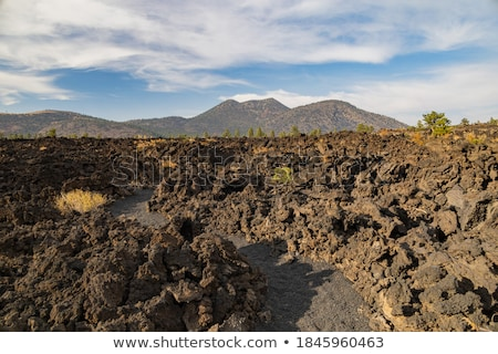 Pôr do sol cratera lava campo inverno céu Foto stock © alexeys