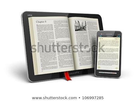 Elektronikus könyv olvasó könyvtár könyvespolc könyvek Stock fotó © AndreyKr