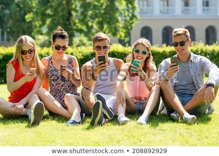 男 · 喜び · 携帯電話 · 市 · 若い男 · 携帯電話 - ストックフォト © adamr