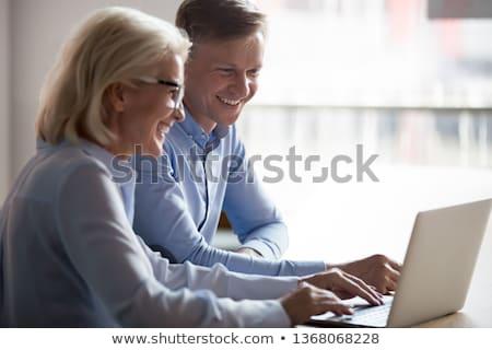 twee · glimlachend · camera · vergadering · business - stockfoto © photography33