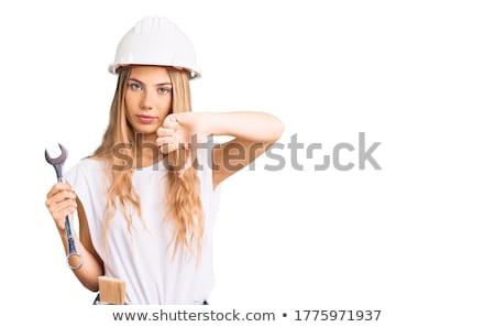 блондинка ремонта женщину Sexy инженер править Сток-фото © grafvision