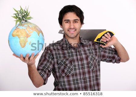 Builder sawing globe Stock photo © photography33