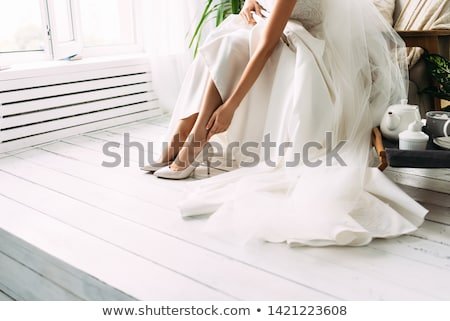 luxurious young woman fiancee in white wedding dress stock photo © gromovataya