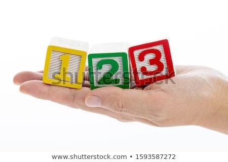 Een twee drie tekst blokken Geel Stockfoto © liliwhite