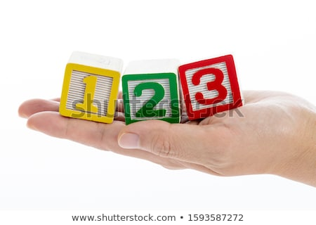 один два три текста блоки желтый Сток-фото © liliwhite