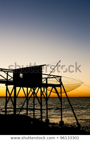 pier with a fishing house gironde department aquitaine france stock photo © phbcz