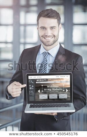 sorridente · moço · tela · branco - foto stock © wavebreak_media