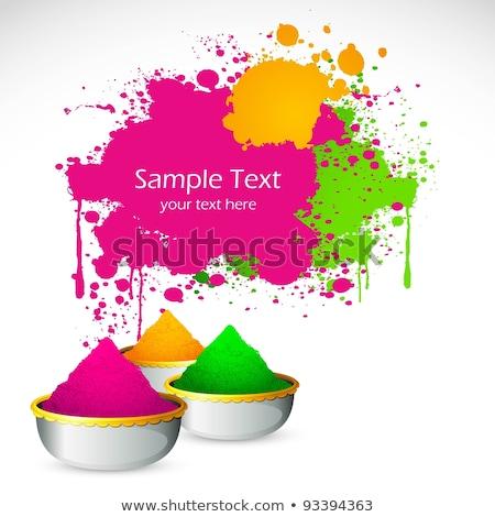Bowl Full Of Colorful Gulal For Holi Background Stockfoto © Vectomart
