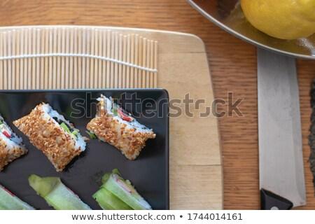 Sushi bambusa tablicy miłości ryb Zdjęcia stock © kawing921