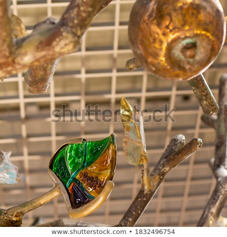 Antigo lanterna desfolhada árvore vidro metal Foto stock © eldadcarin