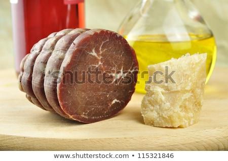 Zeytin parma'ya ait zeytinyağı malzemeler vejetaryen yemek doğa Stok fotoğraf © juniart