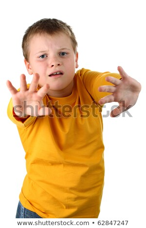 Shocked 10 year old boy trying to defend himself isolated on whi Stock photo © dacasdo