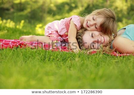 mãe · crianças · grama · família · bebê · sorrir - foto stock © Paha_L
