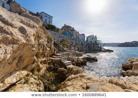 water stairs on the rocky beach in rovinj croatia stock photo © anshar
