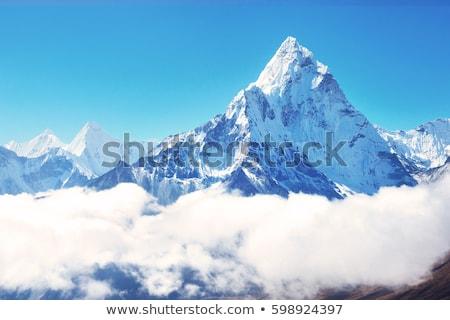 Hegycsúcs hegyek erdő kék felhős égbolt Stock fotó © vadimmmus