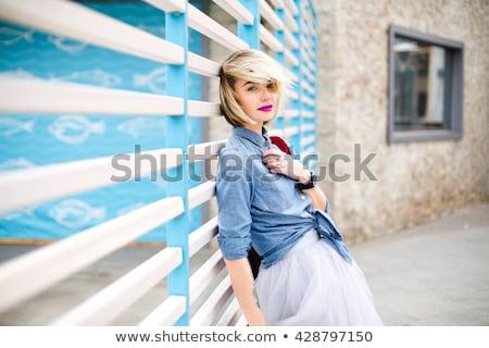 blond · mode · femme · voile · portrait · belle - photo stock © lunamarina