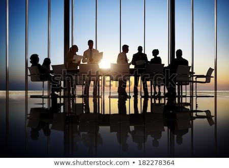 Misto grupo reunião de negócios laptops projeção tela Foto stock © franky242
