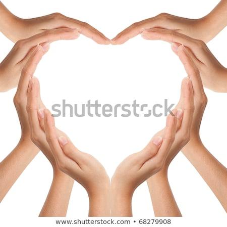 Colors Hands Up In Hearts Shape Stok fotoğraf © SuriyaPhoto