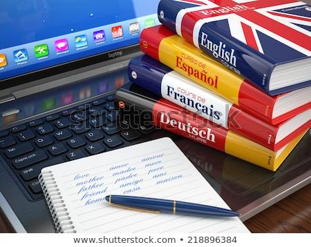 Taal boek onderwijs details tekst kort Stockfoto © simply