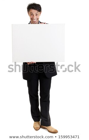 Persuasive man with a big smile and a blank sign Stock photo © smithore