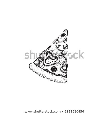 Azeitonas pretas pizza vegetariano tomates Foto stock © zhekos