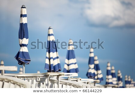 Row of Sun Loungers with  Sunshades Stock photo © Kayco