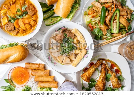roll made with chicken eggs and vegetables stock photo © fanfo