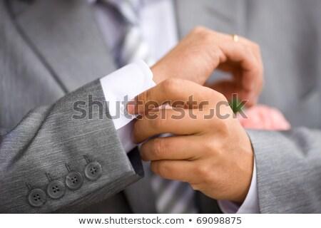 バラ 新郎 スーツ 結婚式 ストックフォト © mikhail_ulyannik