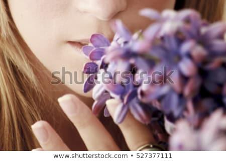 kobieta · kwiaty · czarnej · kobiety · model · włosy · zabawy - zdjęcia stock © deandrobot