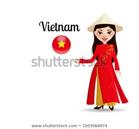 Pretty young Vietnamese woman holding a flag Stock photo © smithore