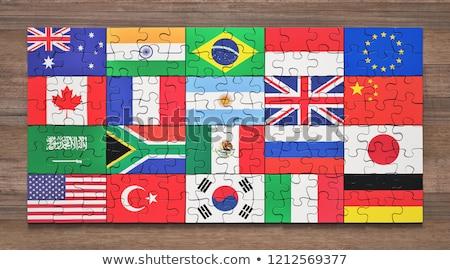 Indonézia európai szövetség zászlók puzzle vektor Stock fotó © Istanbul2009
