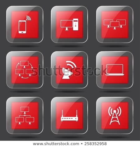 telecom communication square vector red icon design set 2 stock photo © rizwanali3d