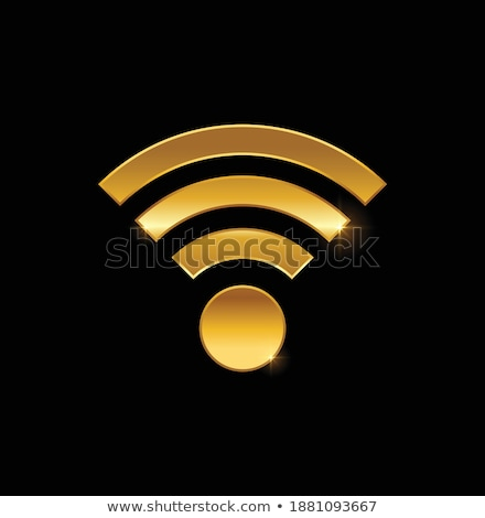 Rádió jel arany vektor ikon terv Stock fotó © rizwanali3d