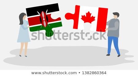 カナダ ケニア フラグ パズル 孤立した 白 ストックフォト © Istanbul2009