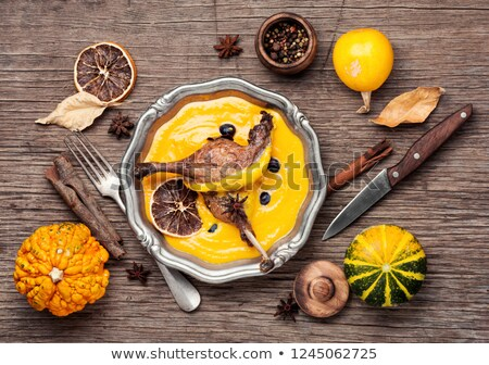 grilled meat with pumpkin puree  Stock photo © OleksandrO