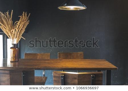 Tijdgenoot eettafel glas top ontwerp Stockfoto © Digifoodstock