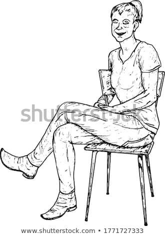 Serseri bacaklar kadın oturma sandalye çıplak Stok fotoğraf © superelaks