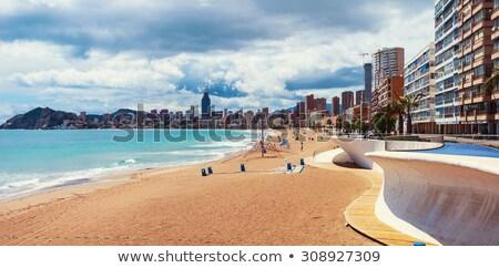 Wieżowce ciężki chmury plaży wiosną budynku Zdjęcia stock © artjazz
